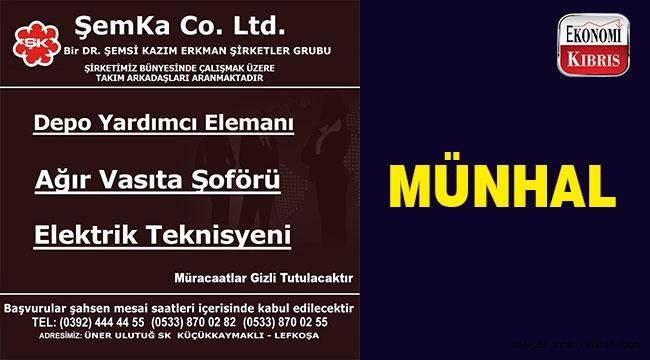 Şemka Co. Ltd. 3 pozisyonda münhal açtı.